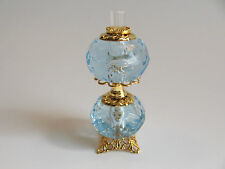 dollhouse doll house miniature ELECTRIC VICTORIAN TABLE LAMP DOUBLE GLOBE BLUE
