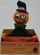 Halloween Spooky Village Animated Snapping Sam Pumpkin Candy Dish NWT