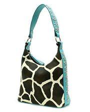 Giraffe Designer Hobo Handbag With Blue Silver Stone Trim