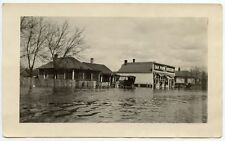 FLOOD PHOTO - OAK PARK GROCERY STORE FRONT + OLD CAR IN FLOOD WATER