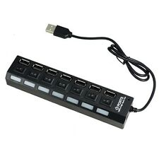 7 Port 2.0 High Speed USB Powered Hub Adapter For Desktop PC Laptop Mac Book