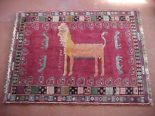 """Vintage Persian Tribal Pictoral rare Signed/Dated LION   Rug (130) 57"""" X 74"""""""