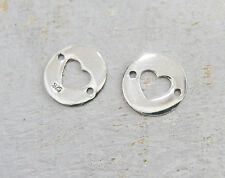925 Sterling Silver 4  heart circle disc Links, Connectors 10mm.