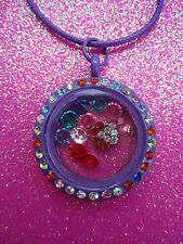 Living Memory Multi Crystal Purple Round Locket with 7 crystals and charm USA