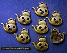 23mm Bronze FAT cat waving charms hearts plated 8 beads for beading pcs cfp078