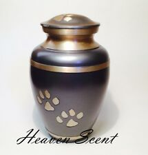 Grey & Gold Pet Dog/Cat Cremation Ashes Urn Container Jar Pawprint Design 01507P