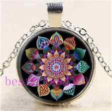 Mandala of Unity Photo Cabochon Glass Tibet Silver Chain Pendant Necklace#C55
