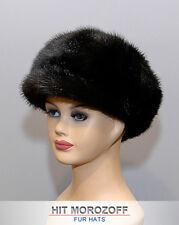 Newsboy Black MINK Fur Cap Gatsby Hat Pelz Kappe Nerz Fellmütze Mütze Pelzmütze
