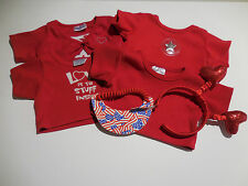 Build A Bear Girl 6Pc Red Lot 4 Red Tops, USA Visor & Red Headband