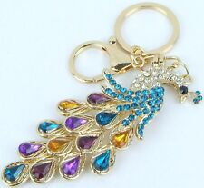 HANDBAG BUCKLE CHARMS MULTI-TONED CRYSTAL ENAMEL PEACOCK KEYRINGS KEY CHAIN