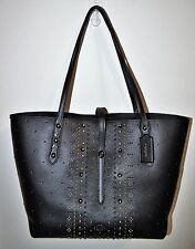 NWT COACH Black Rivet Bandana Pebble Leather Market Tote Purse Bag 55633