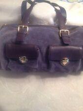 MAXX NEW YORK SUEDE & LEATHER PURPLE/BLUE SHOULDER BARREL STYLE HANDBAG.