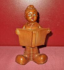 Vintage Hummel Style LITTLE BOY with BOOK FIGURINE Wood Look Resin