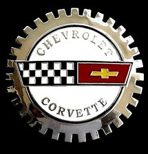 Car Grille Emblem Badge Chevrolet Corvette Chrome Plated Enameled Finish