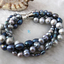 "8"" 4-10mm 4Row Silver Dark Gray Peacock Freshwater Pearl Bracelet Strand Jewelry"
