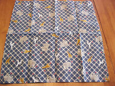 Cute Noah's Ark Animals Blue Plaid Cloth Dinner Napkins Handmade Cotton Fabric