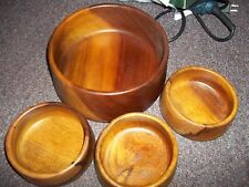 vintage wood bowls made in Portugal 3 salad and one serving bowl MADETOR PER