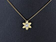 "18K Yellow Gold White 0.05ct Round SI2 Diamond Flower Pendant Necklace 16"" Chain"
