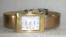 GOSSIP BRAND VERY LIGHTLY PREOWNED GOLDTONE WATCH W/COPPER COLOR BUCKLE BAND