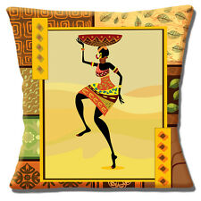 "NEW AFRICAN TRIBAL LADY BROWN YELLOW SHADES PRINTED  16"" Pillow Cushion Cover"