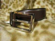 PRADA BROWN LEATHER MENS LOGO BELT 44 / 110 NWT NEW!!!!