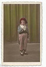 BM619 Carte Photo vintage card RPPC Enfant déguisement colorisé tinted clown