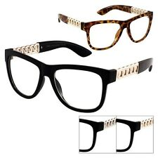 Hipster Vintage Style Retro Horn Rimmed Rope Chain Glasses Clear P39