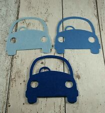 6 large Cars die cut in shades of Blue felt ~ boys, men, applique, card making