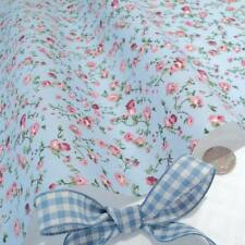 10m MOLLY - BLUE / PINK FLORAL COTTON FABRIC VINTAGE