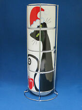 New Christmas Black Cat Kitty 4 Stacking Coffee Cups Mugs Tower Chrome Rack