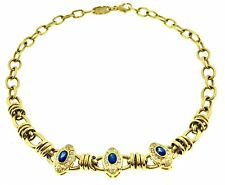 Sapphire and Diamond Choker Chain Necklace in 18k Yellow Gold - HM1729