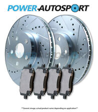 (REAR) POWER CROSS DRILLED SLOTTED PLATED BRAKE DISC ROTORS + PADS 15760PK