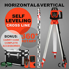 ROTARY GREEN LASER LEVEL + TRIPOD + STAFF 500M RANGE SELF-ROTATING AUTOMATIC