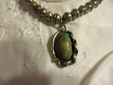 VINTAGE BENCH BEAD  STERLING NECKLACE WITH TURQUOISE PENDANT