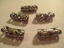6 Tibetan Silver 22x7 mm Floral Curved Large Hole Tube Bail beads   ABCX