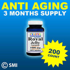 Royal Jelly Natural Anti Aging Herb 200 Capsules 1000mg 3 Month Supply Made USA