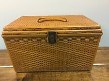 Wil-Hold Wilson Vintage Brown Basket Weave Plastic Sewing Notions Box 2 trays