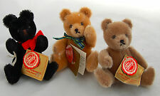 "Mini Teddy Hermann Original Miniature Bear Mohair Jointed 3pc Germany 5"" Retired"