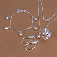 925 sterling silver drop jewelry sets necklace bracelet bangle earring ring Gift