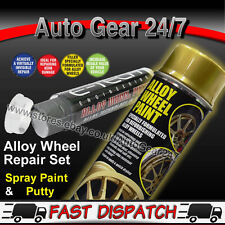 E-TECH Gold Alloy Refurbishment Wheel Spray Paint + Kurb Repair Filler Putty