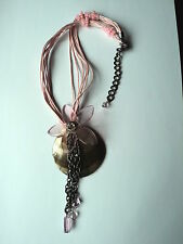 GORGEOUS PINK GLASS & MOP MOTHER OF PEARL SHELL TASSEL CHAIN NECKLACE