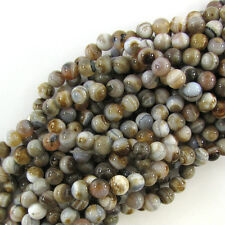 "10mm light brown botswana agate round beads 15"" strand"
