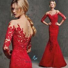 Lace Appliques Long Sleeve Evening Dresses Long Mermaid Red Formal Women Gowns