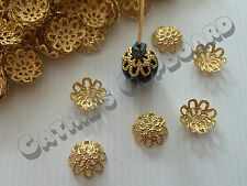 100 x Gold Plated Filigree Flower Bead caps 9mm Rounded Jewellery Craft Findings