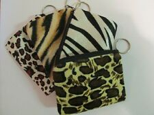 12 Plush SAFARI Animal Print COIN PURSE KEYCHAINS key chain party favor