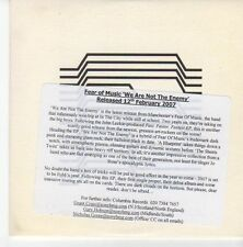 (EB757) Fear Of Music, We Are Not The Enemy - 2007 DJ CD