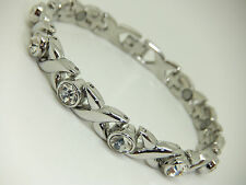 Womens Silver Colour Magnetic Bracelet With Clear Gem Stones Gift Arthritis