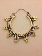 Large Handfinish Brass Rava Hoop Earrings - Funky, Boho, Ethnic, Tribal, Gypsy