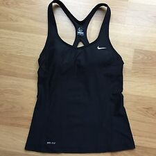 Nike Dri-Fit Women's Victory Mesh Long Bra Tank Top Racerback Vest Black M