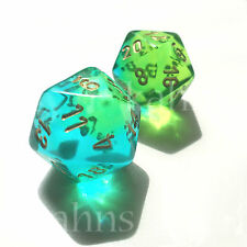 Set of 2 D20 Chessex Dice - Gemini Green Teal w/ Gold - VERY RARE - OUT OF PRINT
